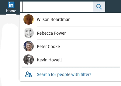 LinkedIn Search for people with filters