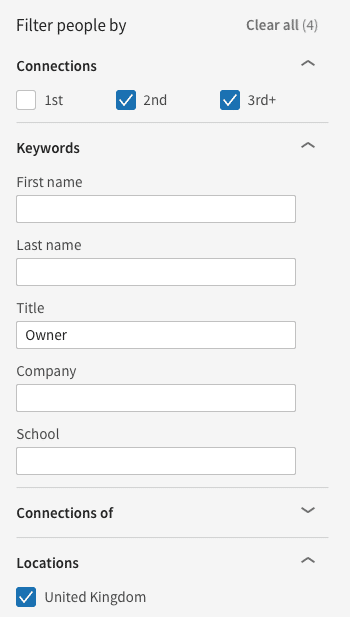 LinkedIn search - filter people